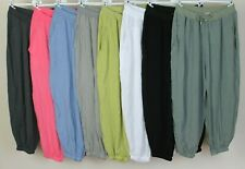 NEW LADIES SUMMER CASUAL SOFT COMFY BAGGY HAREM DRAWSTRING TROUSERS PANTS