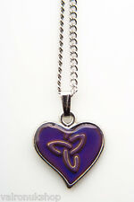 Celtic Trinity Heart Mood Colour Changing Necklace
