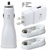 T-Mobile Samsung Phones Adaptive Fast HOME & CAR Charger + 2 Micro USB WHITE
