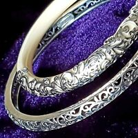 Bracelet Bangle Pure Silver 100% 925 Sterling Hollow Pattern For Daughter Mother