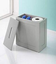 Maine Crisp Grey Finish Bathroom Storage Box Toilet Cleaning Tidy Storage Unit