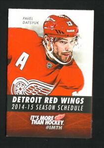 Detroit Red Wings--Pavel Datsyuk--2014-15 Pocket Schedule--Little Caesars