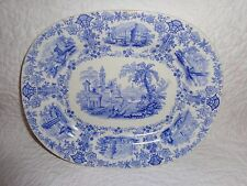 Rare Size 19th.c Staffordshire Marmora Pattern Platter, c.1830-1854, Antique