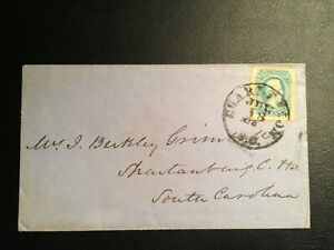 United States confederate stamp 1863 Jefferson D 10c blue Imperf Sc #11 ON COVER