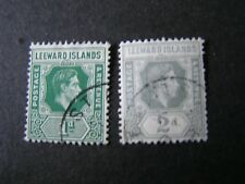 LEEWARD ISLANDS, SCOTT # 104+107(2), 1p+2p. VALUES 1938-51 KGV1 ISSUE USED
