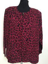 b95a9d17ea51c Cathy Petite by Cathy Daniels Burgundy Black Animal Print Jacket-M  Petite-NWOT