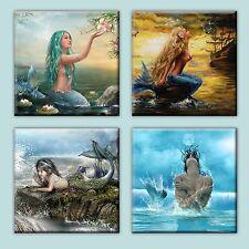 """Mermaid IIllustration Tile Ceramic Coasters (Set of 4) 4.25"""""""