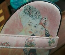 NEW ICON GUSTAV KLIMT PINK LEATHER PLATFORM SLIP SANDALS 11 WEARABLE ART (shoes)
