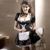 Satin Sexy Women Maid Adult Uniform Fancy Dress Costume Hen Party Ladies Outfit*