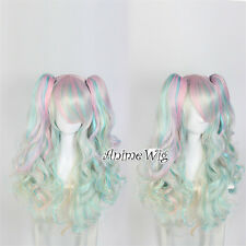 Lolita Multi-Color Long Heat Resistant Ombre Cosplay Bangs Wig Curly Ponytails