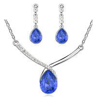 Dark Blue Teardrop Bridal Crystal Jewellery Set Drop Earrings Necklace S824