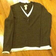 Caribbean Joe Ladies Sweater Size S/CH Dark Gray and White