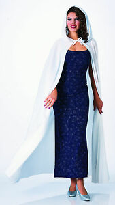 Long White Hooded Cape White Witch Gothic Priestess  Cosplay Adult One Size