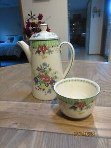 ROYAL DOULTON THE VERNON GREEN COFFEE POT/TEAPOT & SUGAR BOWL FORALS GCOND