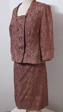 B ALTMAN Skirt Suit Bias Cut Nude Illusion Toffee Lace XL