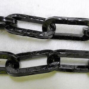 RINGKETTE (1M) 4MM STAHL 36MMx17MM schwarz Gehammert Grob Zierkette Lampenkette