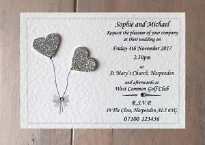 Wedding Invitation Sample With Raised Glitter Heart Balloons - Many Colours!