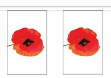 Remembrance Day Poppy Polyester Flag Bunting - 5m with 14 Flags