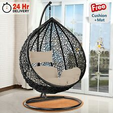 More details for garden swing chair with cushion rattan hanging egg chairs outdoor indoor patio