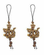 2 Brown Dragons with Star Flower Cell Phone Good Luck Charm Strap Accessory Gift