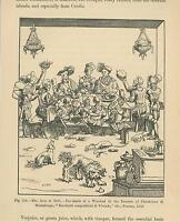 ANTIQUE MEDIEVAL DINNER PARTY SUPPER CAT DOGS SCRAPS BONES COOK MEAL SMALL PRINT