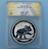 2016 ANACS MS 69 D-Cam Australian Koala Silver Dollar, 1 Ounce Silver $1 Coin