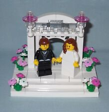 NEW CUSTOM LEGO WEDDING BROWN HAIR BRIDE AND GROOM, ARCH & FLOWERS CAKE TOPPER