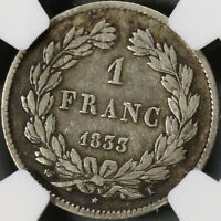 1833-T NGC F France 1 Franc Rare Nantes SIlver Coin 31K Minted (18052004C)