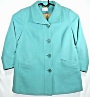 Eastex Womens Coat Jacket Size 12 Teal Wool Cashmere Blend Winter