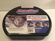 TIRE CABLE SNOW CHAINS, PAIR OF LIGHT TRUCK & SUV PEERLESS 0232610 SELF TIGHTENS
