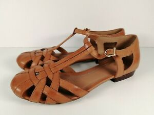 CLARKS Artisan Latice Brown Leather Flat T-Bar Mary Jane Sandals Size 4.5/37.5D