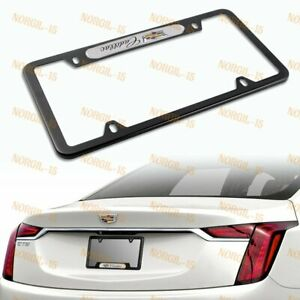 For CADILLAC Black White Metal Stainless Steel License Plate Frame NEW 1PCS