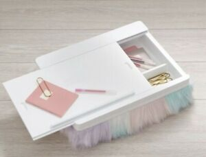 Pottery Barn Teen Faux-Fur Superstorage Lapdesk Green/Pink/Purple NEW-Out Of Box