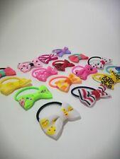 20Pcs Girls kids Ribbon Handmade pony tail band Hair Bows with Elastic Bobbles