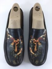 ICON Women's Shoes WEARABLE ART Sz 8.5 M Slip On Gustave Flaubert Brown Woman