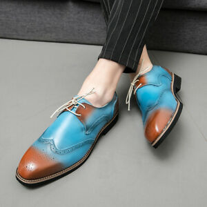 Mens Carved Pointed Toe Business Oxford Formal Brogue Lace Up Casual Party Shoes