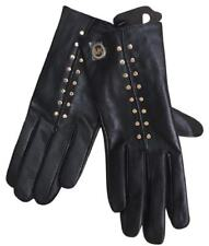 NW Michael Kors Black Leather Gold Stud Tech Gloves, L