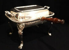"Vintage POOLE 4 Part Chafing Dish with Wooden Handle, 12"" x 9"" x 8"""