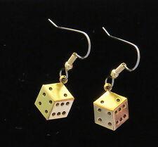 Dice Earrings 24 Karat Gold Plate Gambling Snake Eyes Casino Games Lucky Roll Em