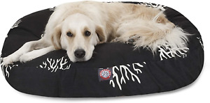 Black Coral Large Round Indoor Outdoor Pet Dog Bed With Removable Washable Cover