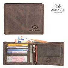 ALMADIH 14 Kartenfächer Leder Portemonnaie Herrenbörse Brieftasche d braun P0Q