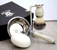 Men's Complete 5 Piece Shaving Set | DE Safety & Synthetic Brush | Gift for Him