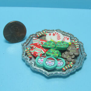 Dollhouse Miniature Assorted Christmas Cookie Platter Tray for the Holiday CCP2