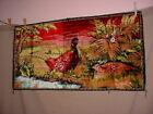 Vtg Pheasants Wall Tapestry Velvety Woodland Scene