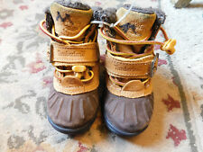 Timberland Brown Leather Winter boot Toddler Sz 5 Suede Lined easy on off GUC