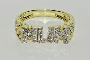 9ct Yellow Gold on Silver MUM Ring - Stone Set - All Sizes Available