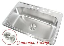 "33"" x 22"" x 9"" Deep Top Mount Drop In Stainless Steel Single Bowl Kitchen Sink"