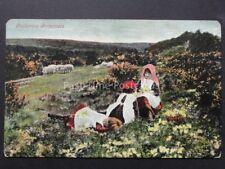 Children on Heath land CATHERING PRIMROSE Old Postcard by Valentine's