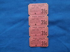 Vintage 35 Cent State Theatre Tickets (Strip of 4) - Drive-In Movie/Cinema - OH