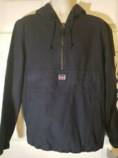 NWT Levis Mens L 1/2 Zip navy blue Hooded Jacket Garment Dyed